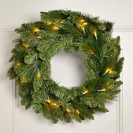 nest swiss pine battery operated led christmas wreath w timer - Battery Operated Christmas Wreaths