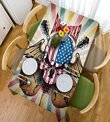 HAIXIA Manteles Guitarra Retro Estilo Composición Angry Calavera Bandera Americana Patrón Alas Guitarras Eléctricas Decorativo,