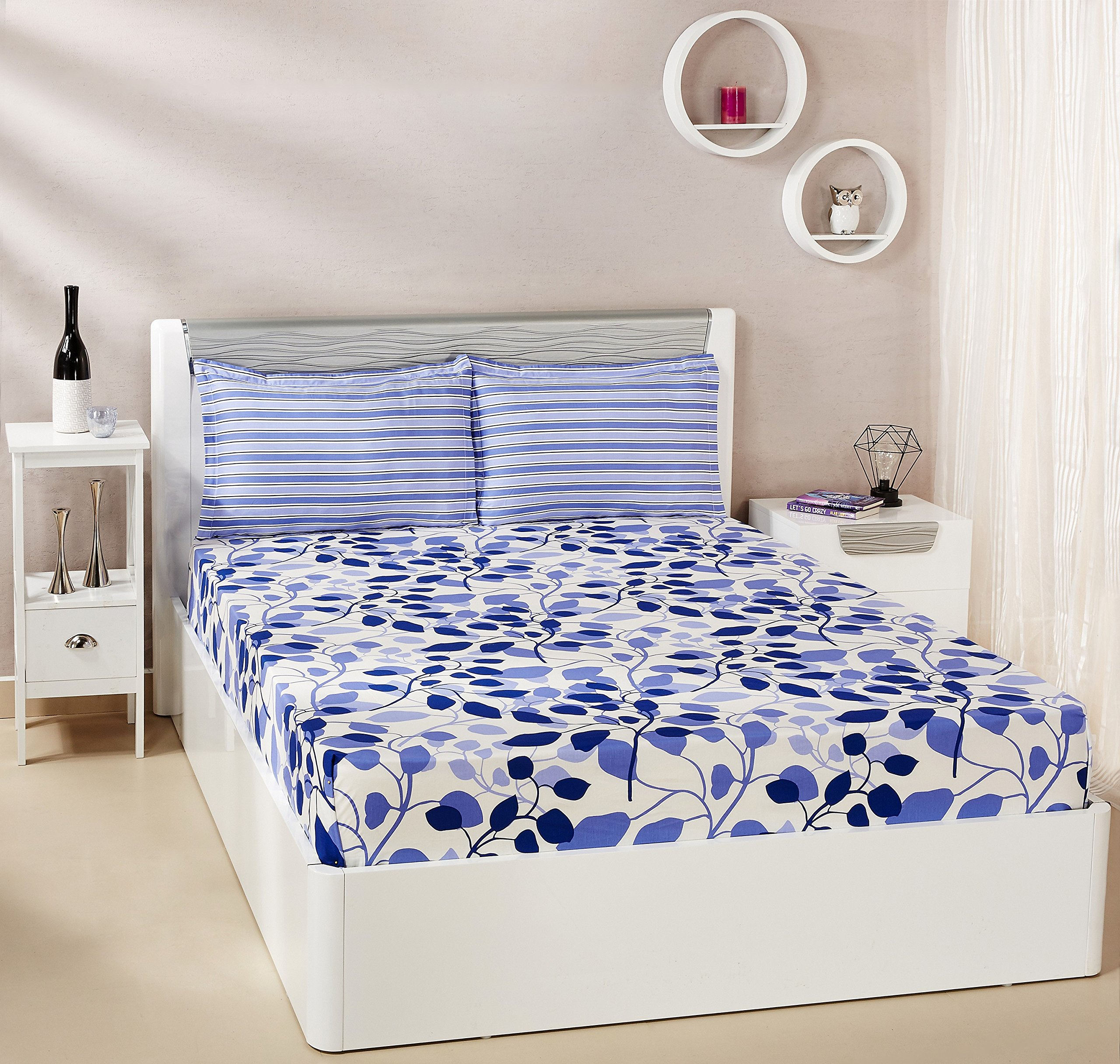 Amazon Brand - Solimo Leafy Spring 144 TC 100% Cotton Double Bedsheet with 2 Pillow Covers, Blue product image