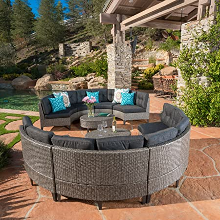 Christopher Knight Home Currituck Outdoor Wicker Patio Furniture 10 Piece Black Circular Sofa Set with Water Resistant Cushions
