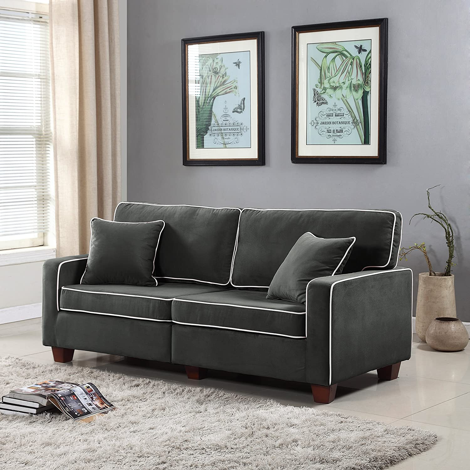 Divano Roma Furniture Collection - Modern Two Tone Velvet Fabric Living Room Love Seat Sofa (Dark Grey