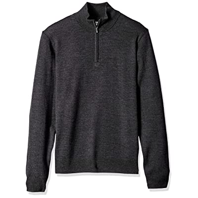 Brand - Goodthreads Men's Lightweight Merino Wool Quarter Zip Sweater: Clothing