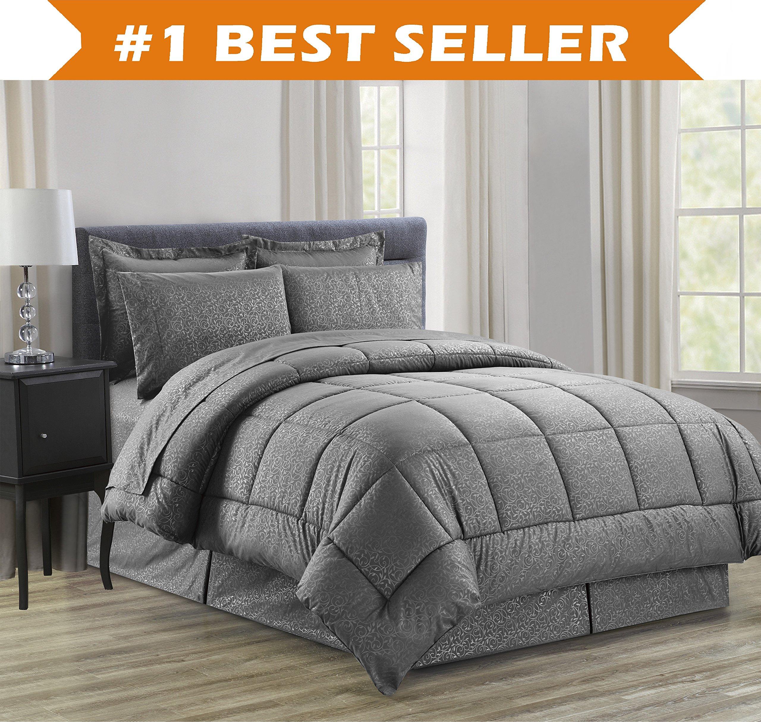 Luxury Bed-in-a-Bag Comforter Set on Amazon! Elegant Comfort Wrinkle Resistant - Silky Soft Beautiful Design Complete Bed-in-a-Bag 8-Piece Comforter Set -Hypoallergenic- King Grey