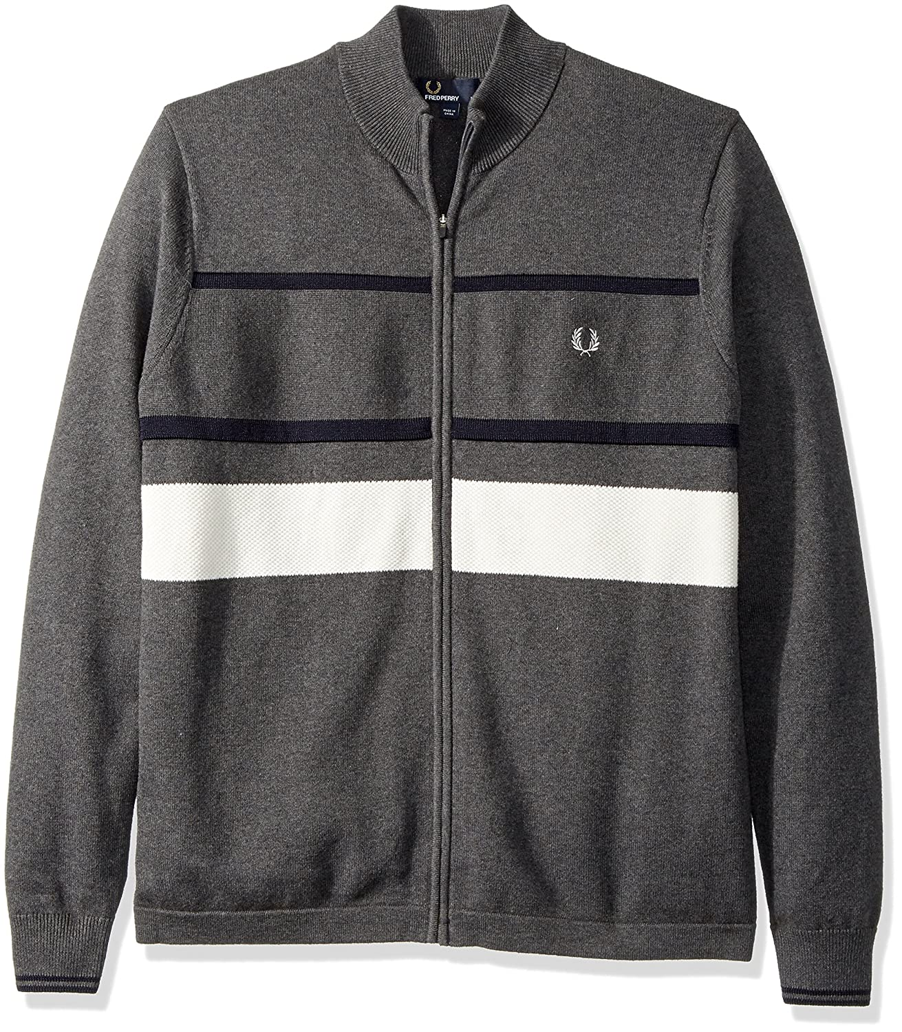 Fred Perry OUTERWEAR メンズ B0713XW3YH Large|Graphite Marl Graphite Marl Large