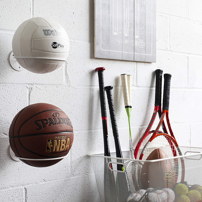 Wallniture Sporta Wall Mount Sports Ball Holder Display Storage Steel Set of 2 White