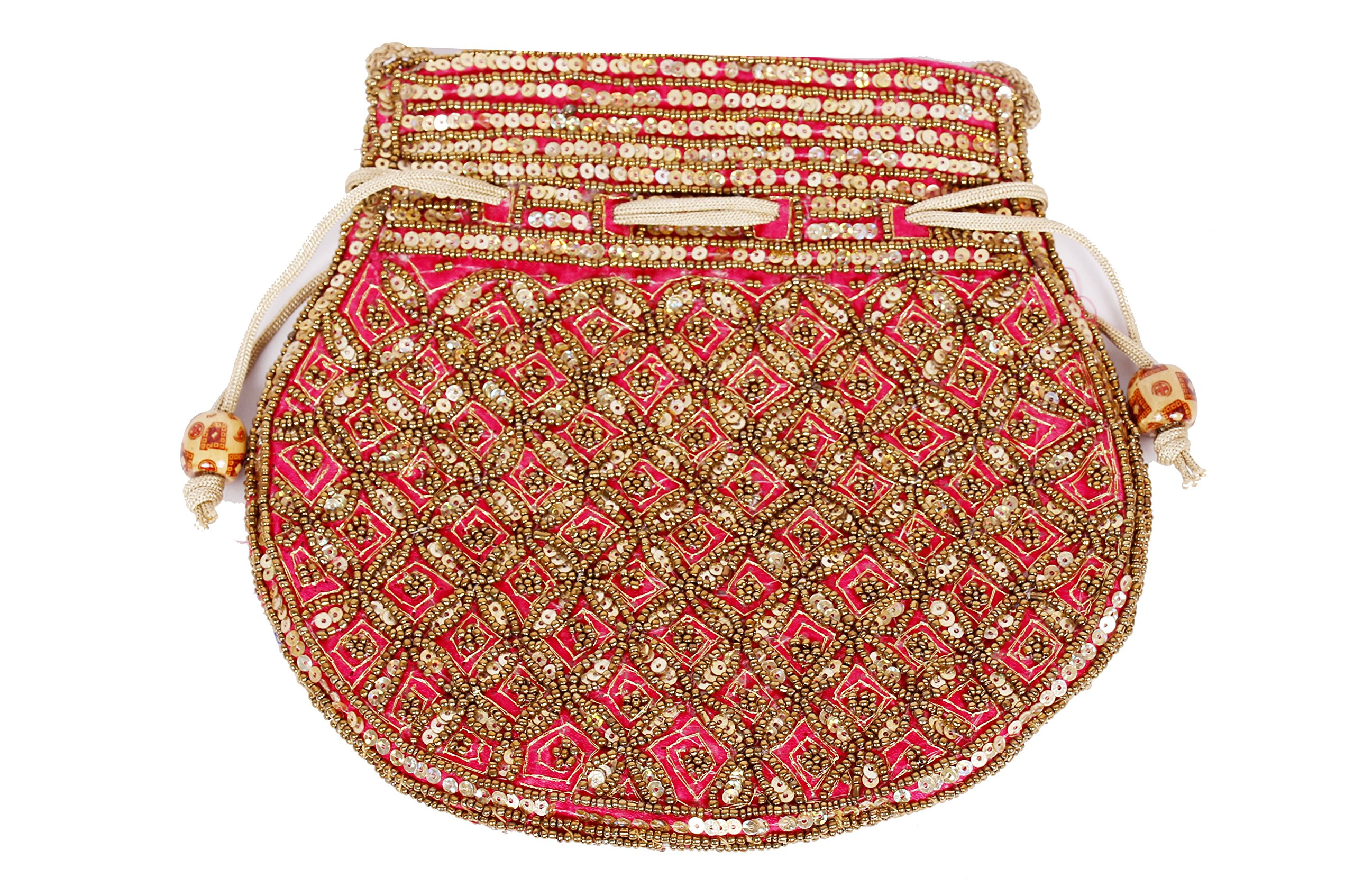 Indian sequence Potli Bag/ wedding purse/jewelery purse for girls & women (Base Color- Dark Cerise))