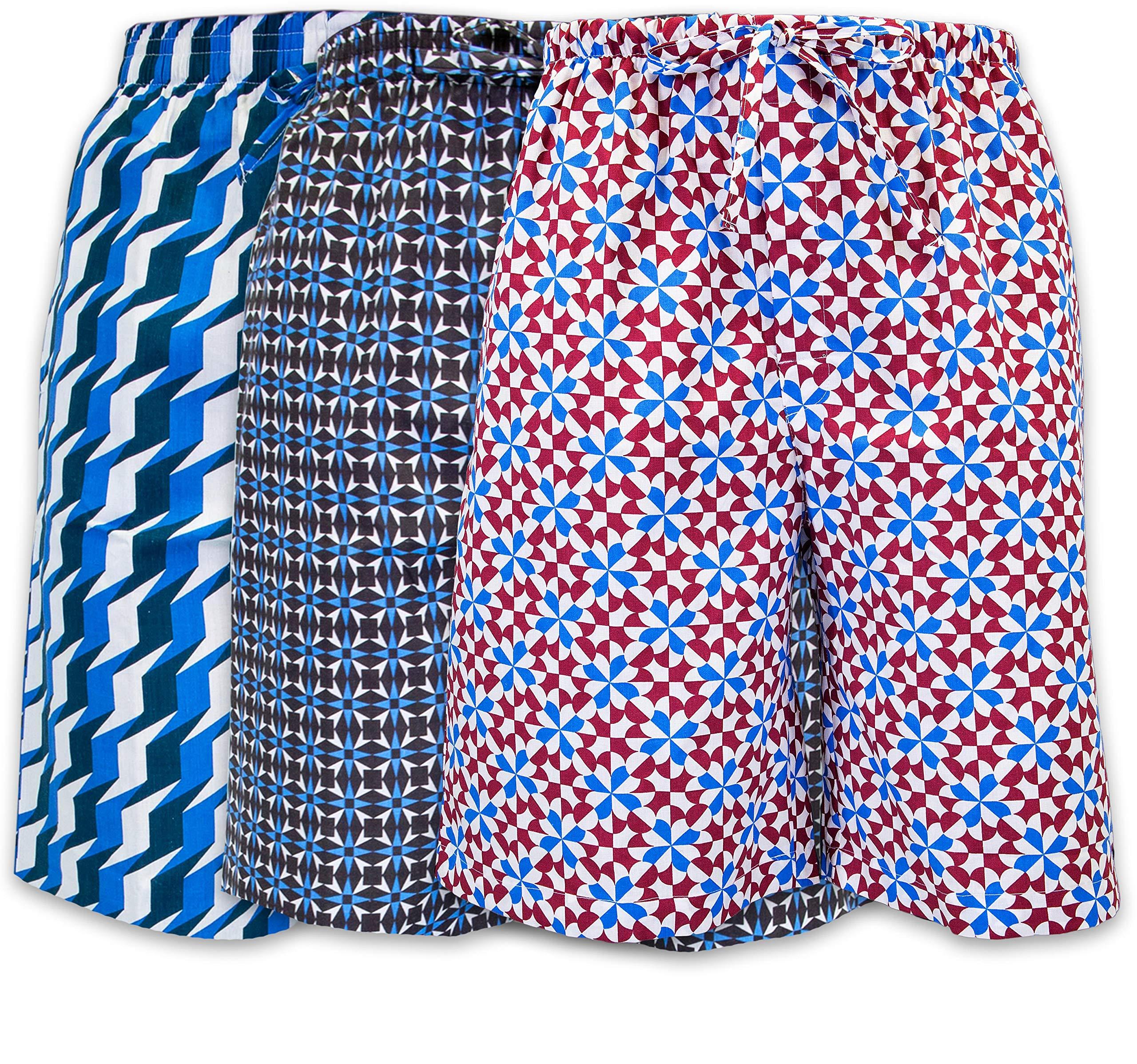 Men's Lounge Pajama Sleep Shorts/Woven Jam Dorm Shorts Drawstring & Pockets - 3 Pack (3 Pack- Geometrics 2, 3XL)