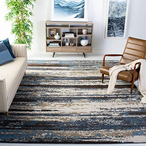 Safavieh Retro Collection RET2138-1165 Modern Abstract Cream and Blue Area Rug 8'9″ x 12'