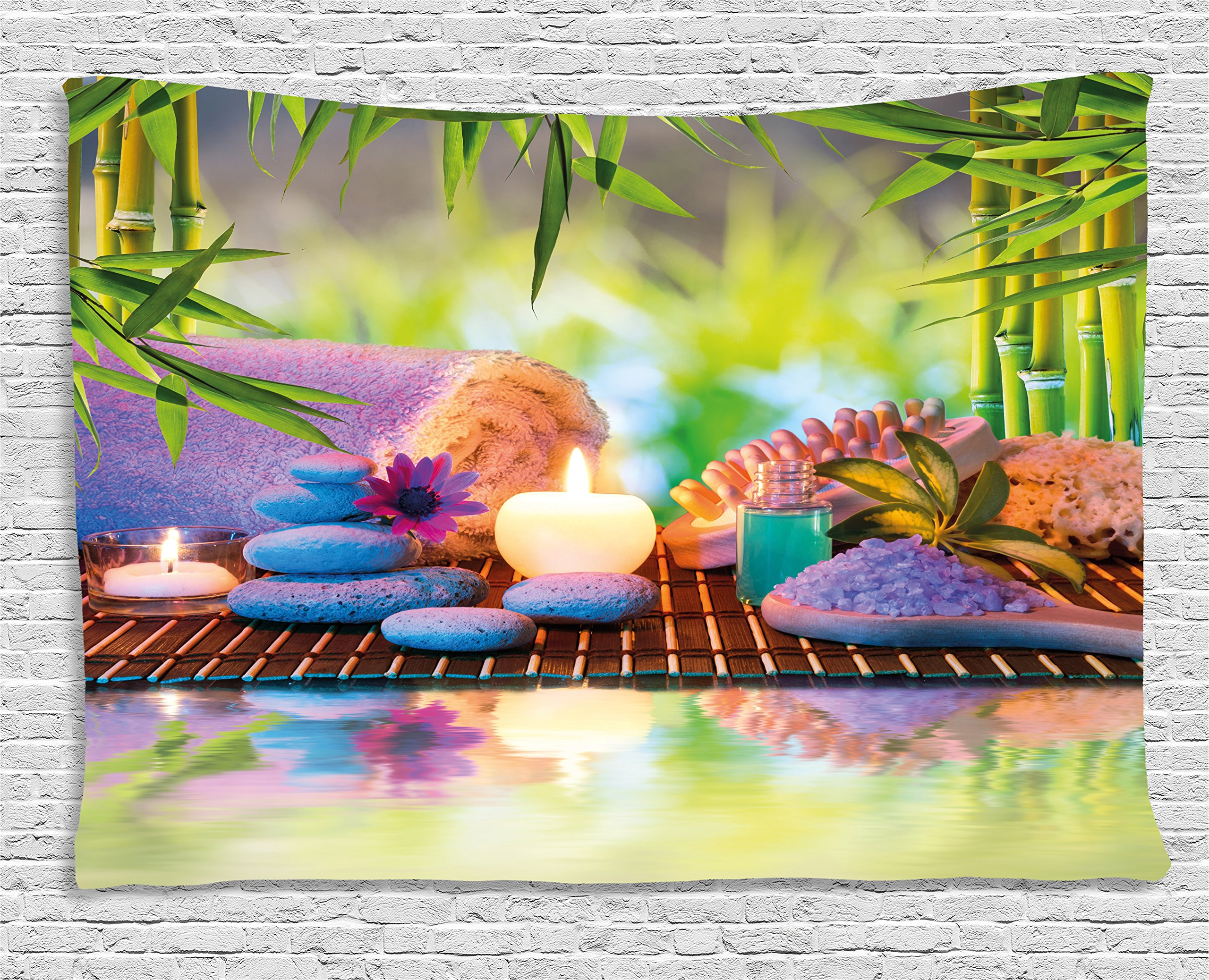 Ambesonne Spa Tapestry, Stones with Candles Spiritual Eastern Yoga Relaxation Meditation Chakra Bamboos Print, Wall Hanging for Bedroom Living Room Dorm, 60 W X 40 L inches, Multicolor