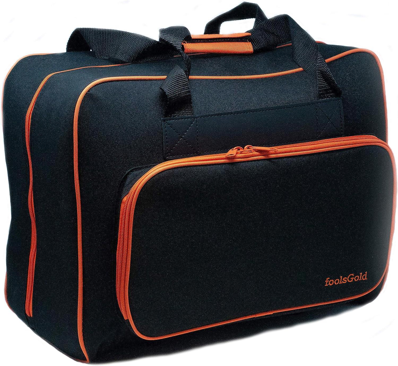 foolsGold Bolsa Acolchada para Transportar la Máquina de Coser (Negro/Naranja)