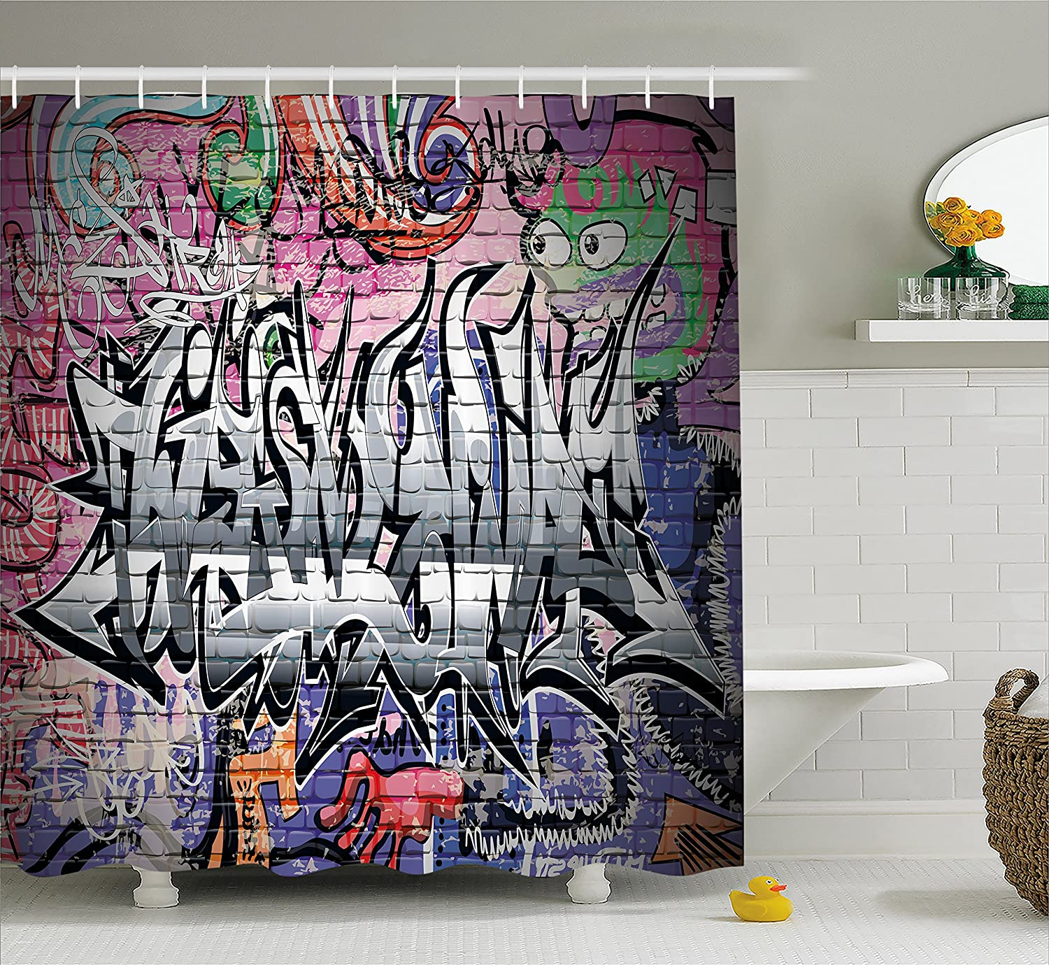 Ambesonne Rustic Home Decor Shower Curtain, Graffiti Grunge Art Wall Several Creepy Underground City Paint, Fabric Bathroom Decor Set with Hooks, 70 Inches, Multi