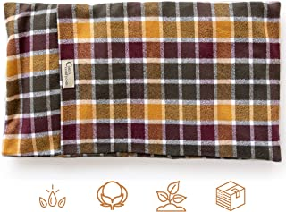 """product image for ComfyComfy Microwaveable Organic Flaxseed Heating Pad with Washable Case 21"""" x 11"""", Made in USA, Autumn Plaid"""