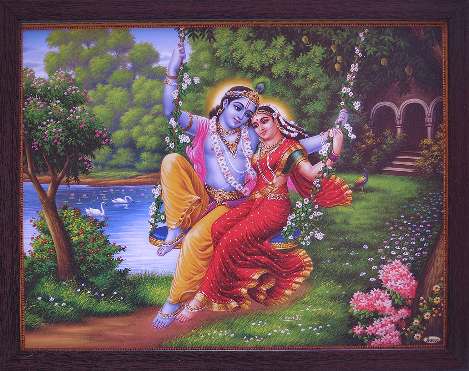 Handicraft Store Lord Radha & Krishna Enjoying Swing at River Coast in Forest, a Decorative Religious Poster with Frame, It's Good Gift to Give Someone to Any Occasion.