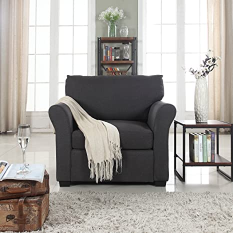 DIVANO ROMA FURNITURE Classic and Traditional Linen Fabric Accent Chair -  Living Room Armchair (Dark Grey)