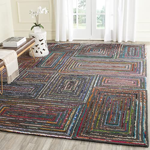 Safavieh Nantucket Collection NAN609A Handmade Abstract Charcoal Cotton Premium Wool Area Rug 9 x 12