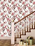 Paper Plane Design Khirki Rose Flower Wallpaper Peel And Stick Wallpaper (Self Adhesive) ,(Small , 5.5 Sqft)