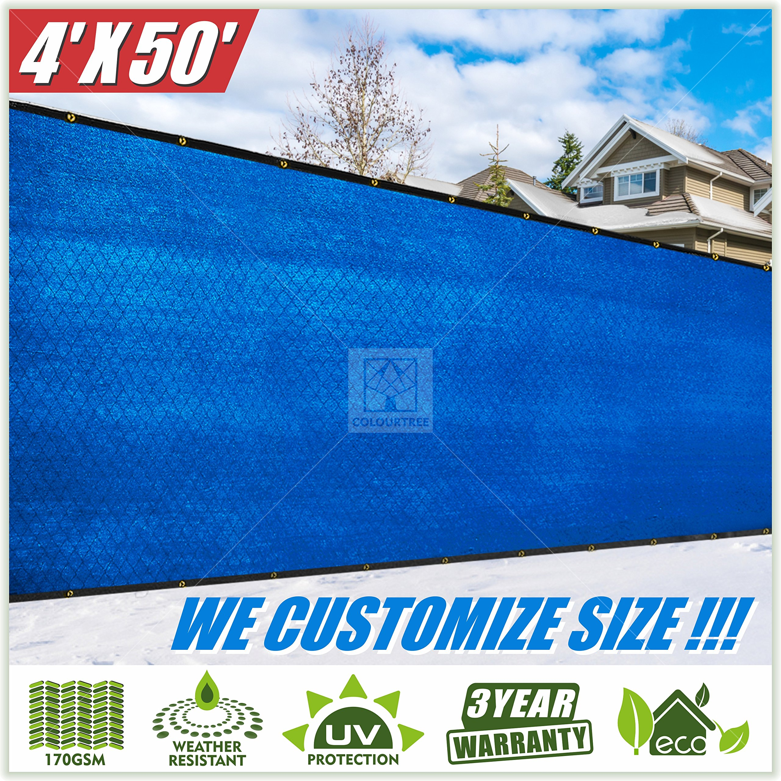 ColourTree 4' x 50' Blue Fence Privacy Screen Windscreen Cover Fabric Shade Tarp Plant Greenhouse Netting Mesh Cloth - Commercial Grade 170 GSM - Heavy Duty - 3 Years Warranty (1, 4' x 50')
