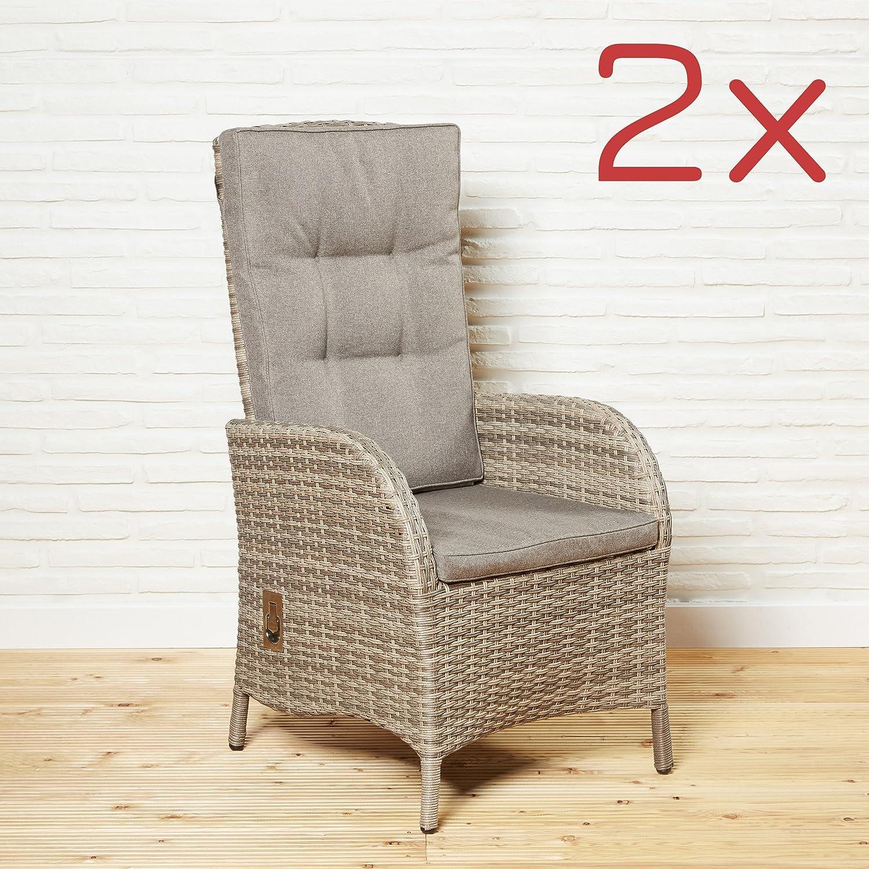 Gartensessel 2er Gartenmöbel Set Stuhl Gartenstühle braun Kissen Positionsstuhl