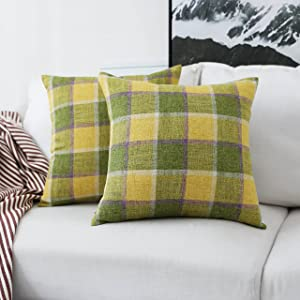 Home Brilliant Set of 2 Decorative Throw Pillow Covers Cotton Linen Checkered Plaids Cushion Covers for Sofa Couch Bench, 18 x 18 inches(45x45cm), Grass Field