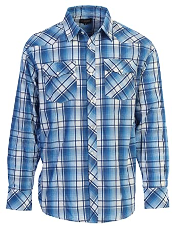 8510b92dc4b1 Gioberti Men's Western Plaid Long Sleeve Shirt with Pearl Snap-on, Blue/ White