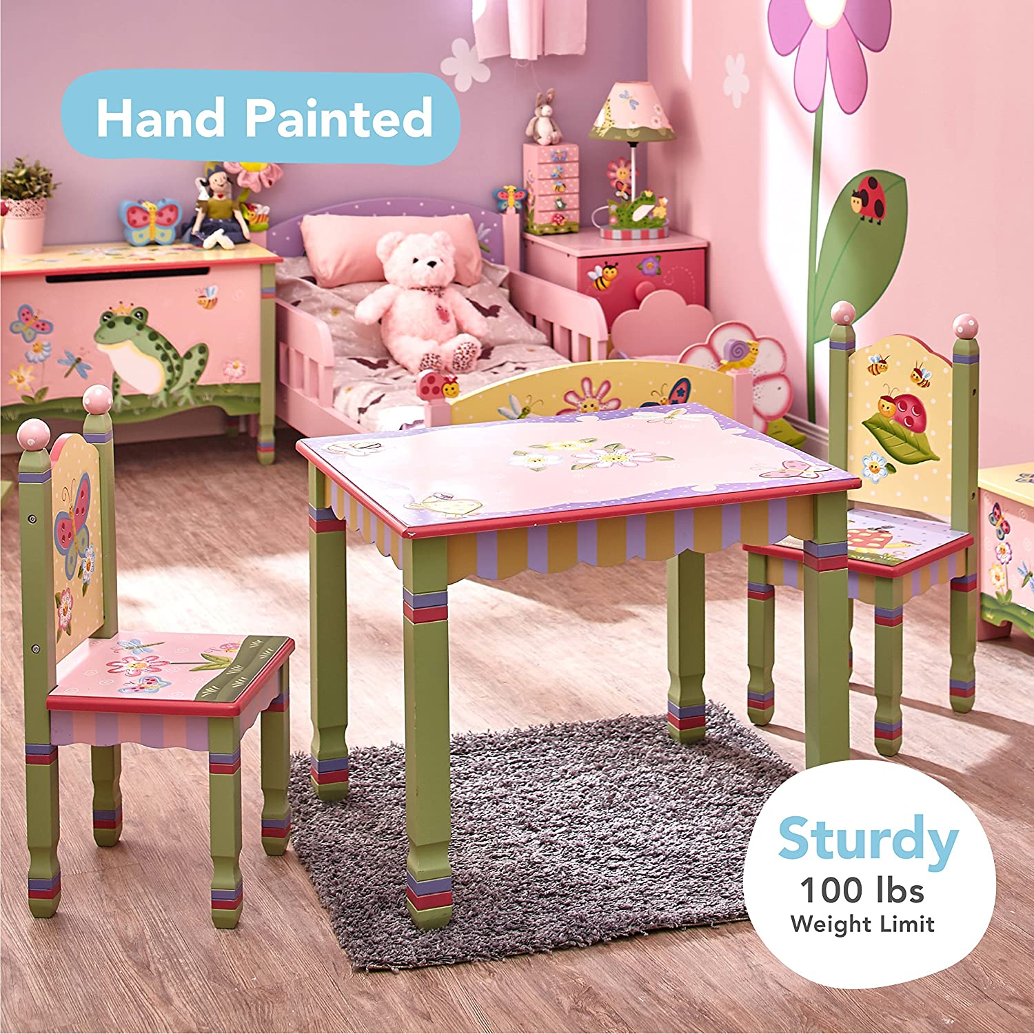 ... Kids Wooden Table And 2 Chairs Set Imagination Inspiring Hand Crafted U0026  Hand Painted Details Non Toxic, Lead Free Water Based Paint: Toys U0026 Games