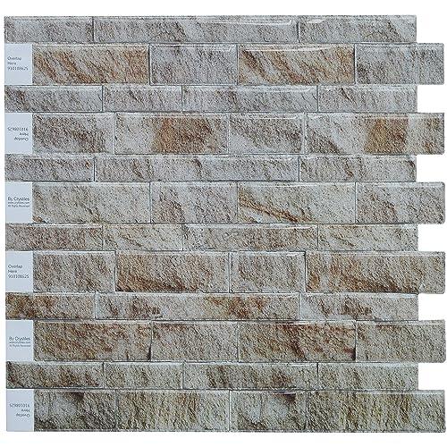 Crystiles Diy Peel Stick Backsplash For Kitchen And: Faux Brick Panels: Amazon.com