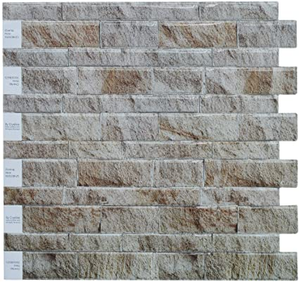 Crystiles Peel And Stick Diy Backsplash Tile Stick On Vinyl Wall Tile Perfect Backsplash Idea For Kitchen N Bathroom Décor Project Weathered Slate