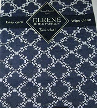Flannel Backed Vinyl Tablecloths By Elrene  Navy Blue Geometric Clovers   Assorted Sizes   Oblong