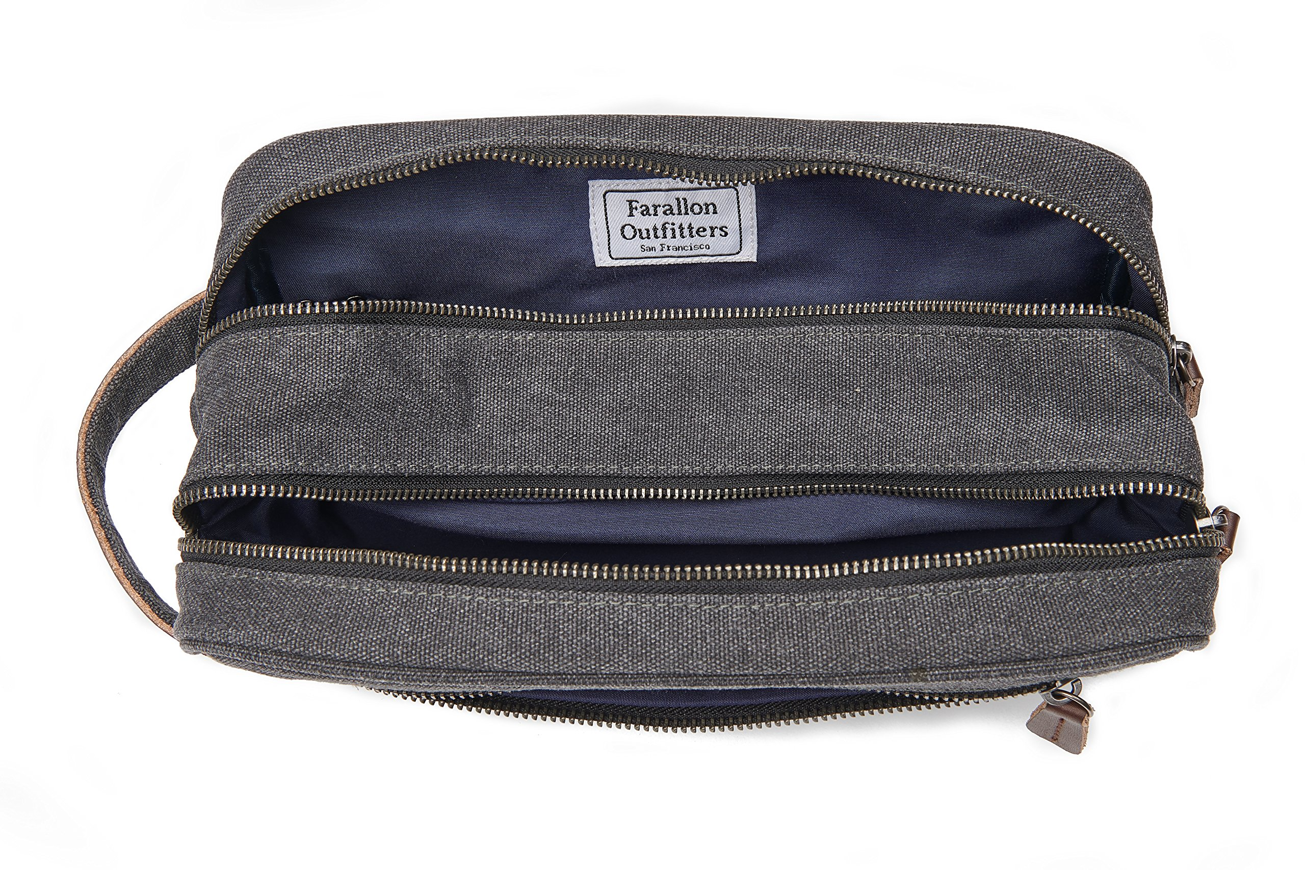 Mens Toiletry Bag – Canvas Vintage Dopp Kit, Genuine Leather, 3 Compartments, for Travel, Gym, Shaving and Grooming, by Farallon Outfitters