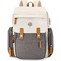 """Parker Baby Diaper Backpack - Large Diaper Bag with Insulated Pockets, Stroller Straps and Changing Pad -""""Birch Bag"""" - Cream"""