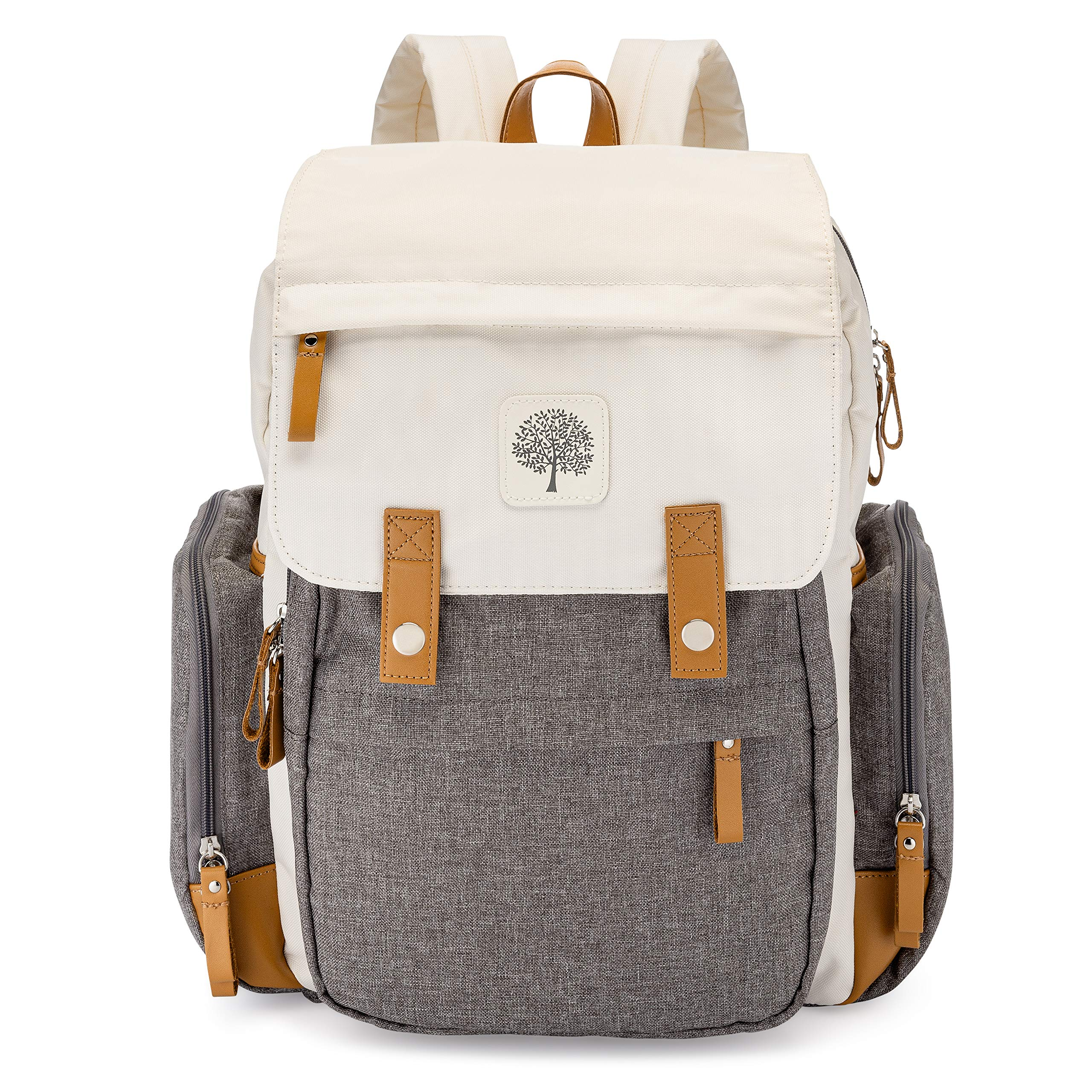 Parker Baby Diaper Backpack - Large Diaper Bag with Insulated Pockets, Stroller Straps and Changing Pad -''Birch Bag'' - Cream by Parker Baby Co.