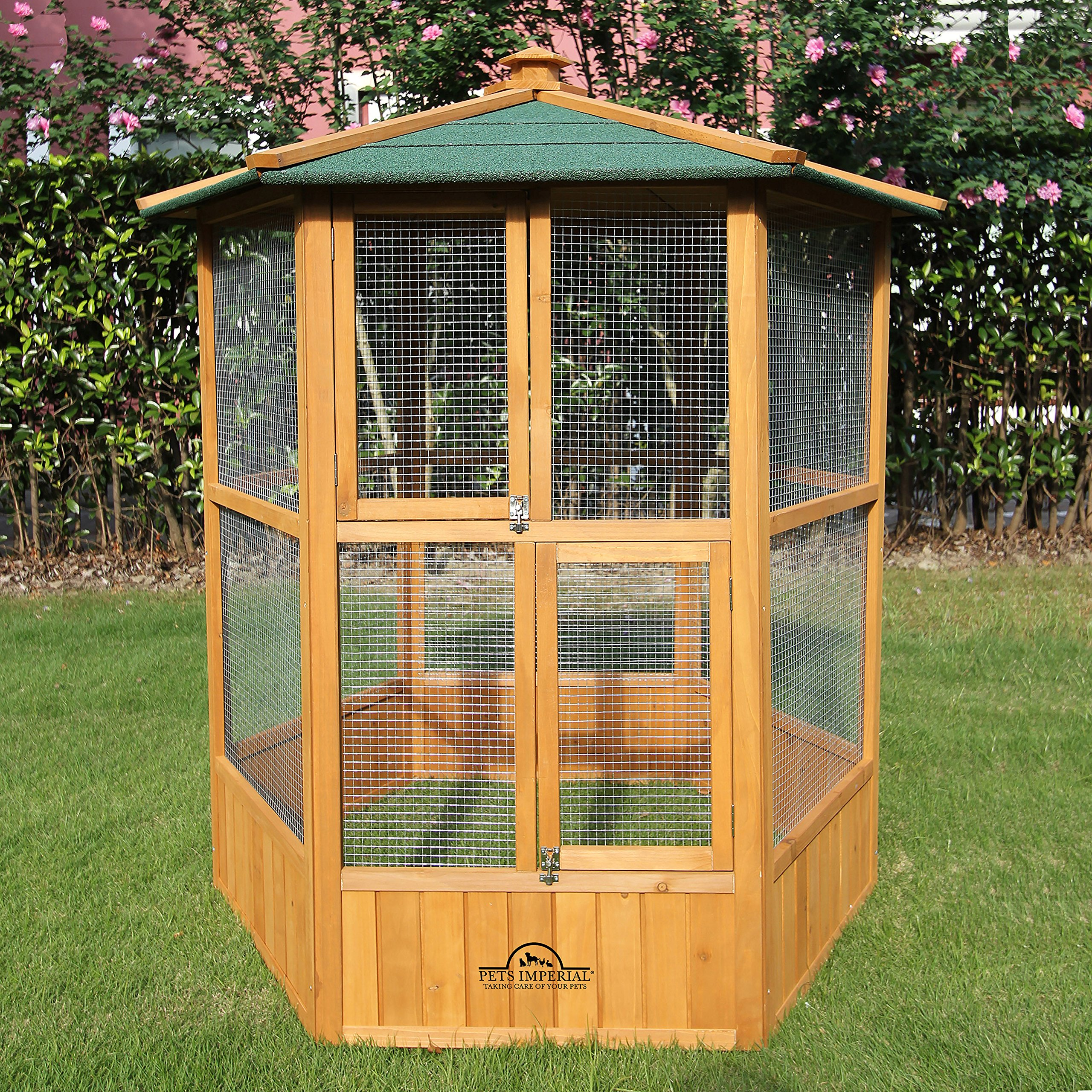 Pets Imperial Stunning Wooden Bird Aviary Hexgonal Design 5ft 2'' by 4ft 9'' Suitable for Small Birds & Animals