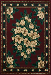 "United Weavers of America Magnolia Manhattan Rug Collection, 5' 3"" by 7' 6"", Burgundy"