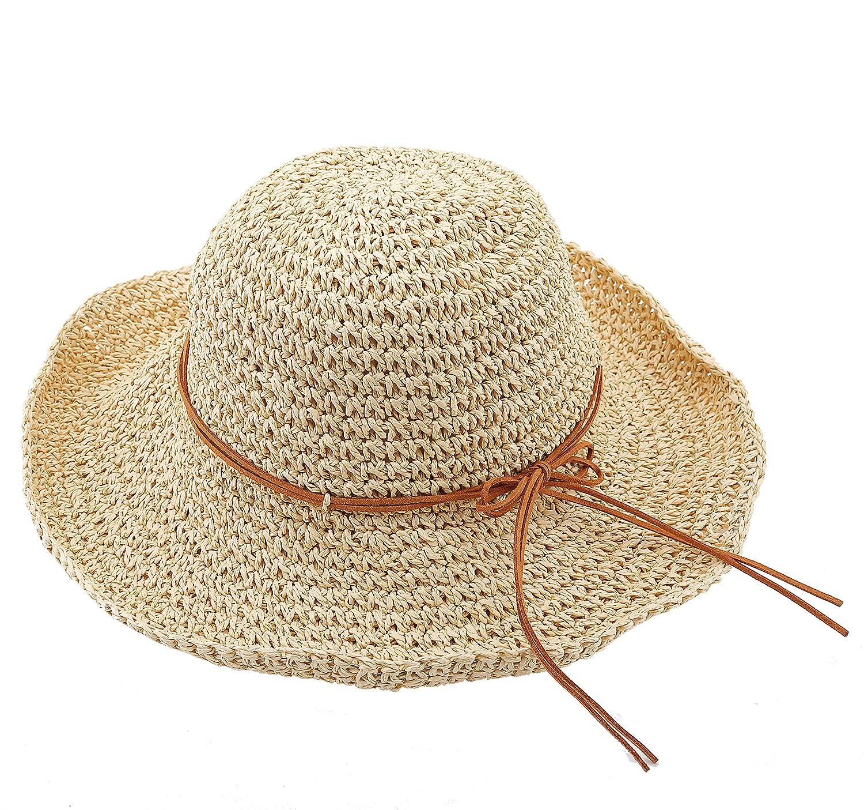 Urban GoCo Womens Wide Brim Caps Foldable Summer Beach Sun Straw Hats