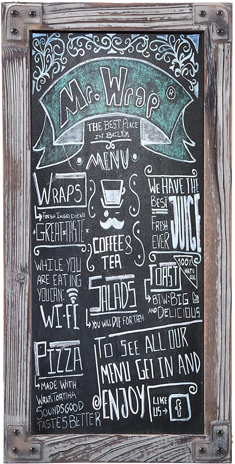 Amazon Com Torched Wood Vertical Frame Chalkboard Wall Mount Erasable Message Board Mygift Office Products