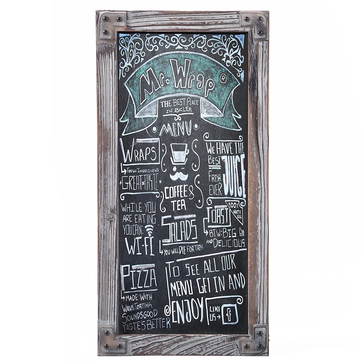 Torched Wood Vertical Frame Chalkboard, Wall Mount Erasable Message Board, MyGift OP-33107