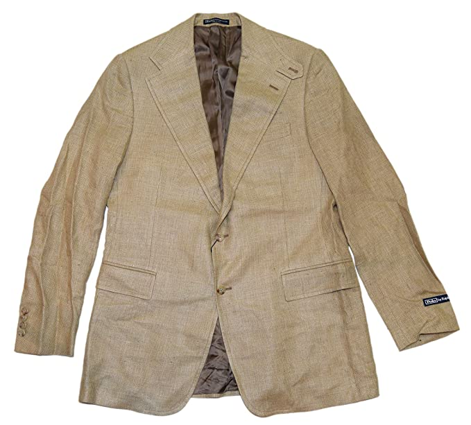 1739c47154abc3 Image Unavailable. Image not available for. Color  Ralph Lauren Polo Mens  Silk Flax Blazer Sport Coat Italy Beige ...