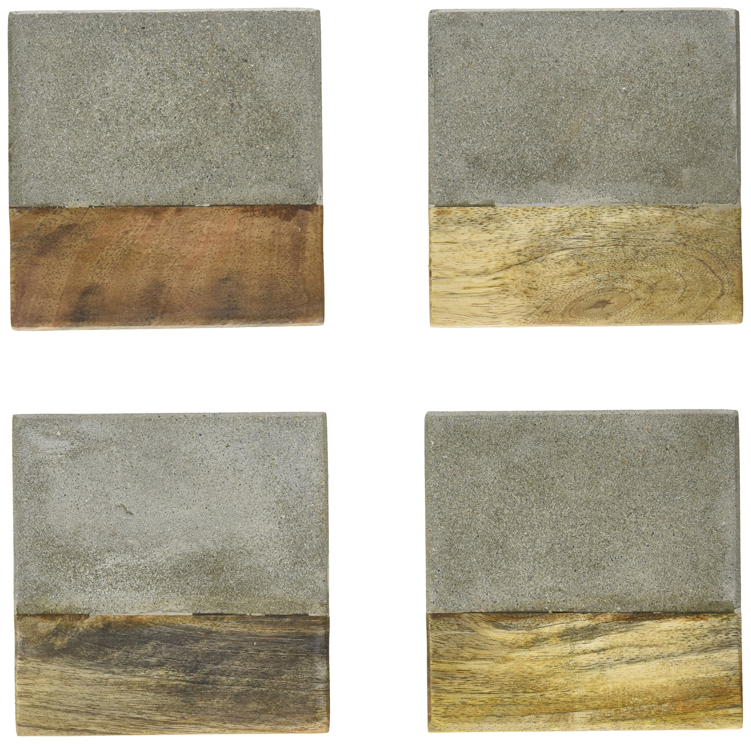 Creative Co-Op DA8985 Set of 4 Cement & Wood Coasters