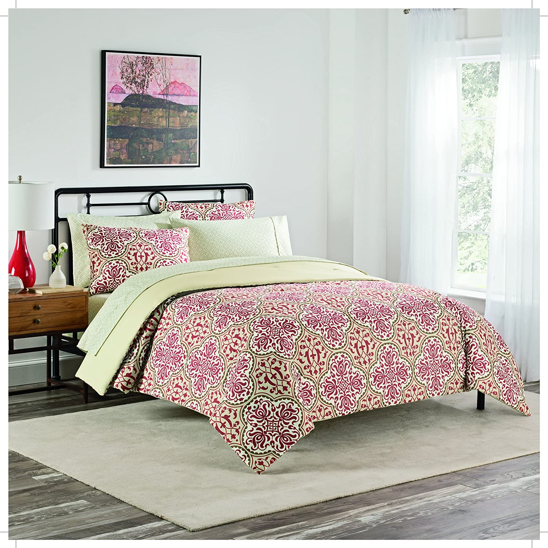 Simmons Bianca Bed in a Bag 7 Piece Comforter Set, Queen, Red