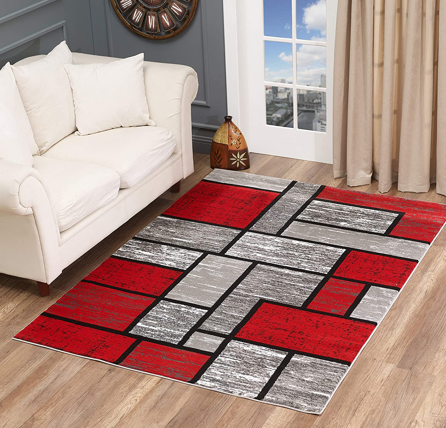 Glory Rugs Red Area Rug 5x7 Gray Abstract Modern Boxes Carpet Bedroom Living Room Contemporary Dining Accent Sevilla Collection 6614a Grey Red Furniture Decor