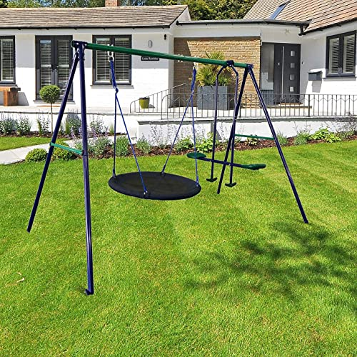 ALEKO BSW08 Outdoor Sturdy Child Swing Set with Glider and Saucer Mat – Blue and Green