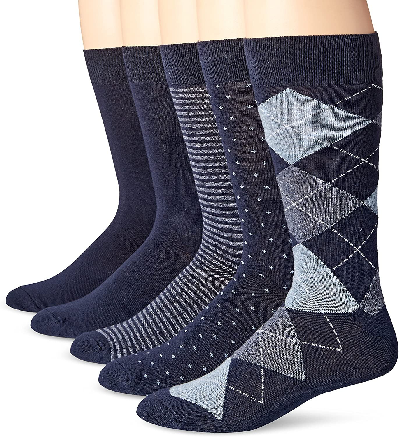 Amazon Essentials Men's 5-Pack Patterned Dress Socks