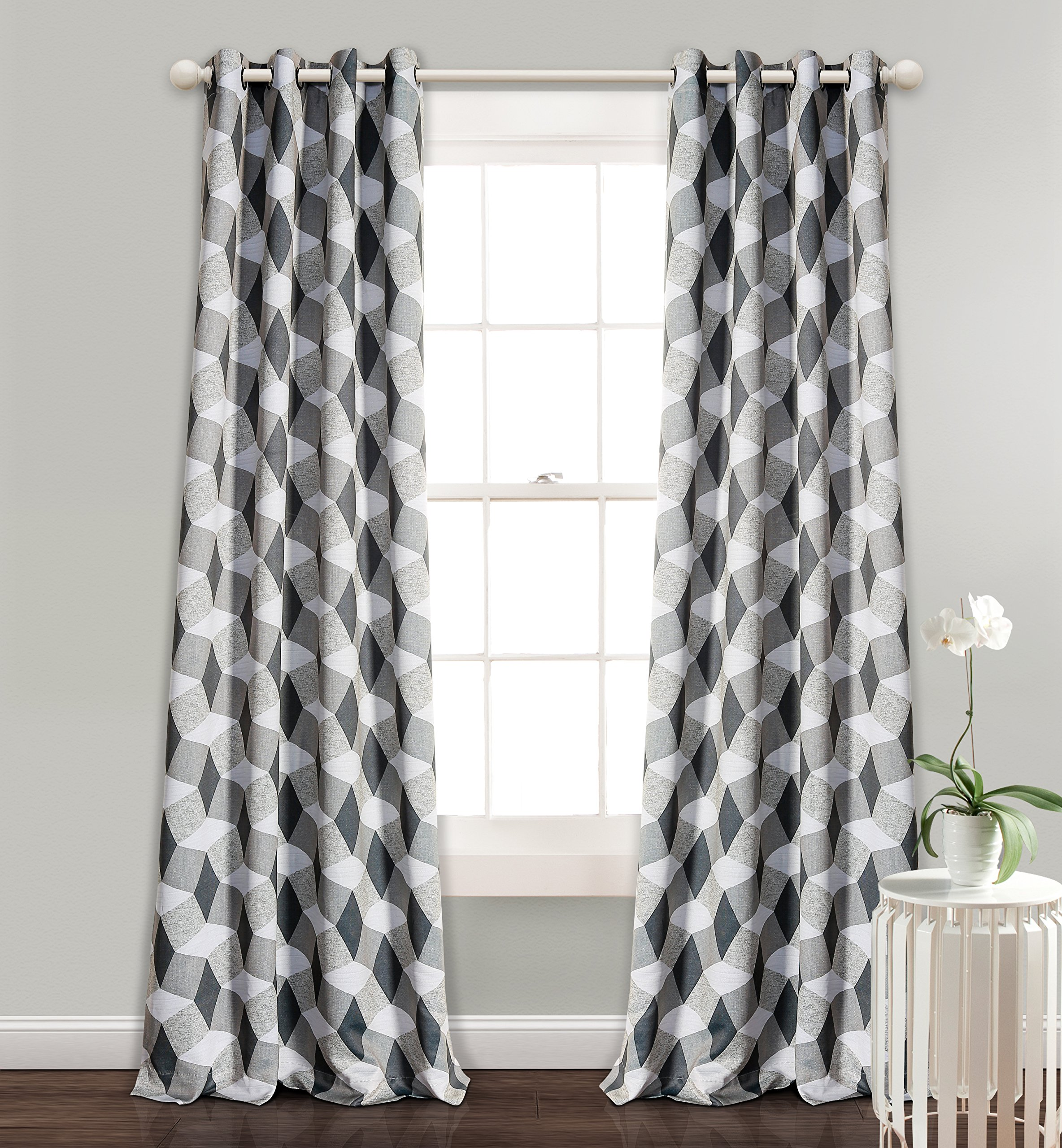 MYSKY HOME 3D Geometry Fashion Design Print Thermal Insulated Blackout Curtain with Grommet Top for Living Room, 52 by 95 inch, Dark Grey - 1 Panel