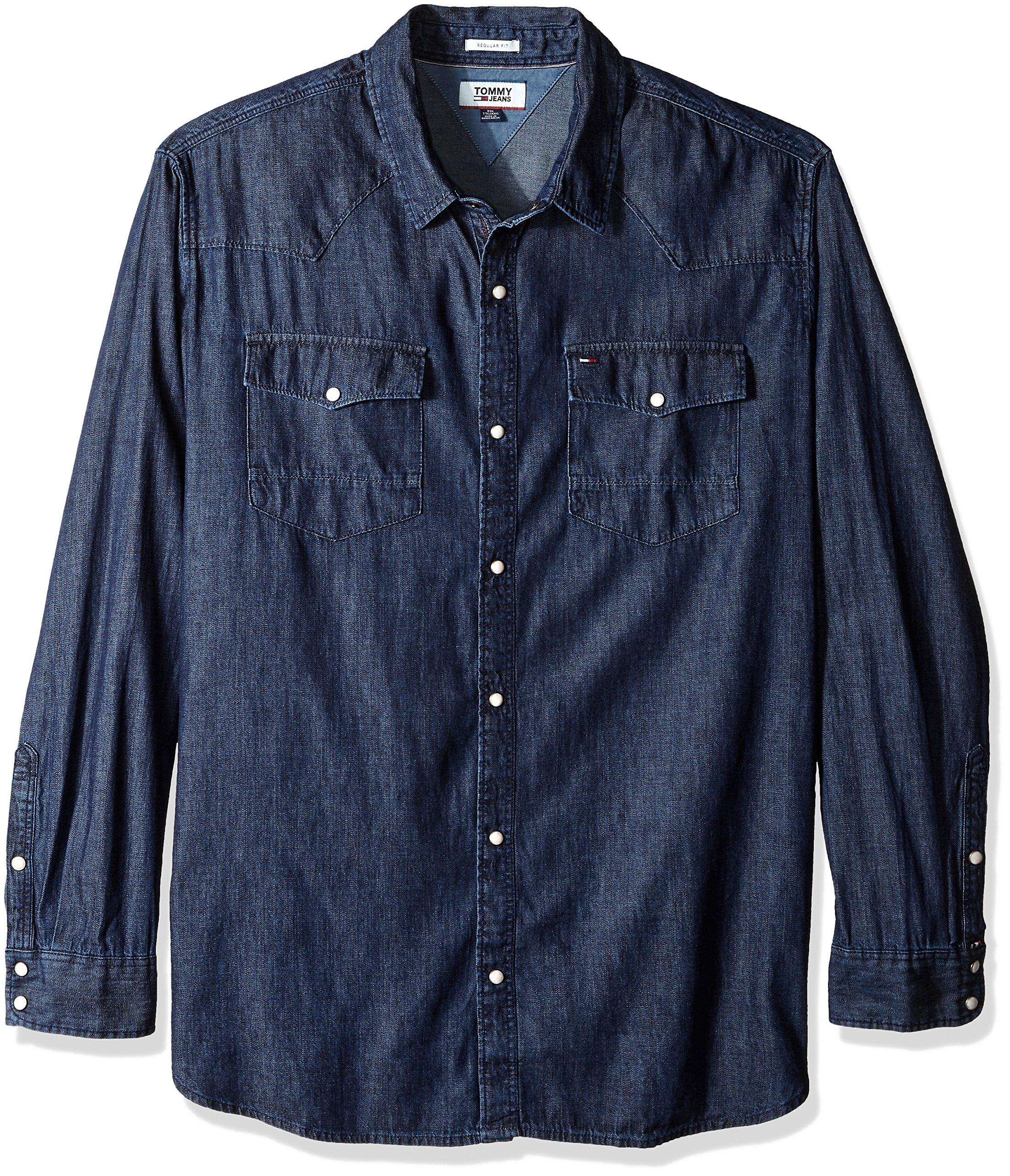 99e24350 Tommy Hilfiger Men's Denim Shirt with Snaps Long Sleeves - Denim Fit