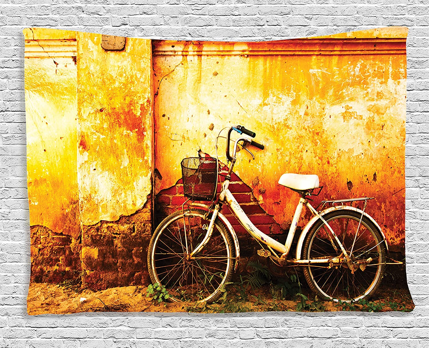 Amazon.com: Ambesonne Bicycle Decor Collection, Vintage Bike in ...