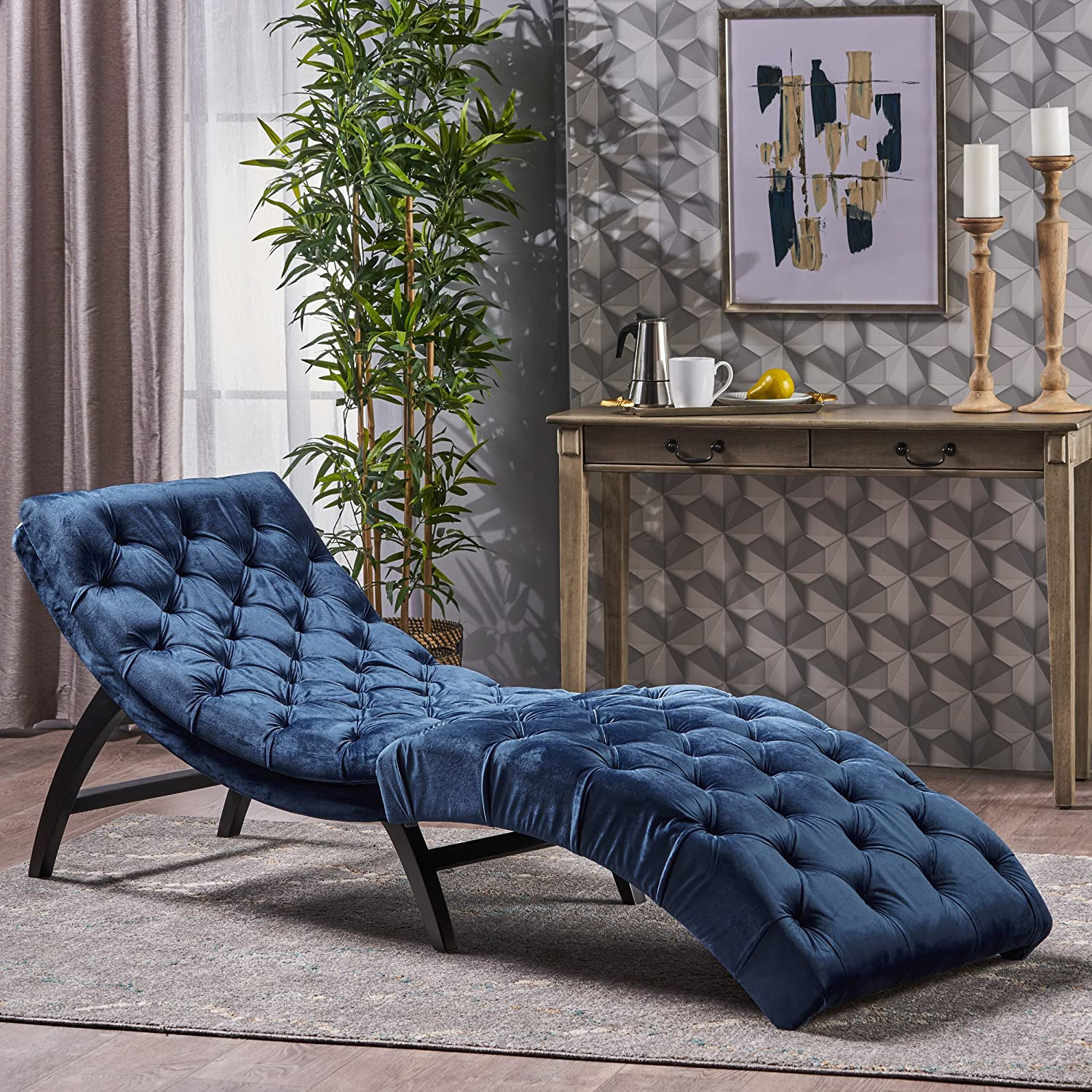 Great Deal Furniture 302204 Garamond Cobalt Velvet Chaise Lounge, Dark Brown