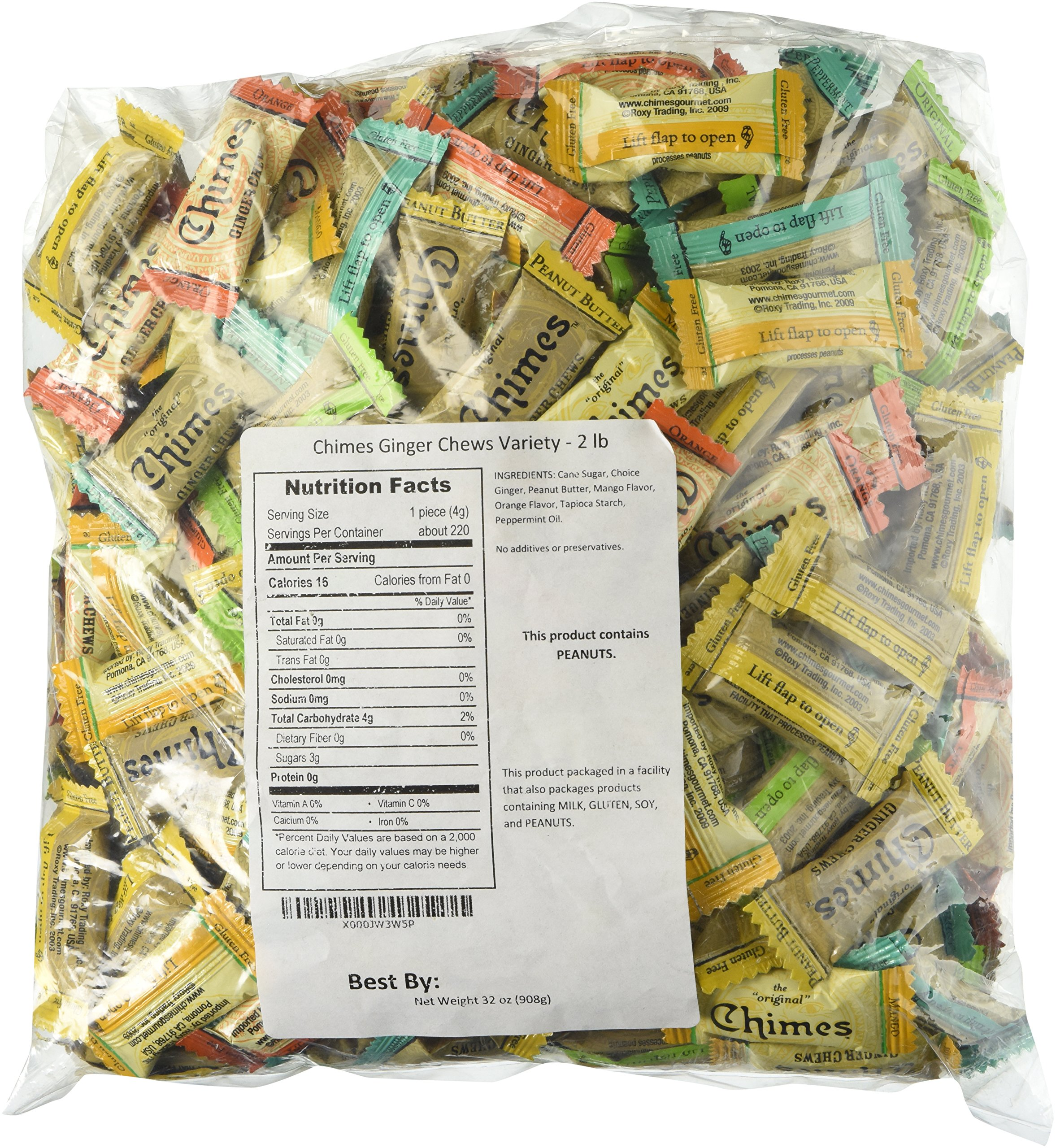 Chimes Ginger Chews Variety Pack - Original, Orange, Mango, Peppermint and Peanut Butter - 2lb Bag by Chimes (Image #1)