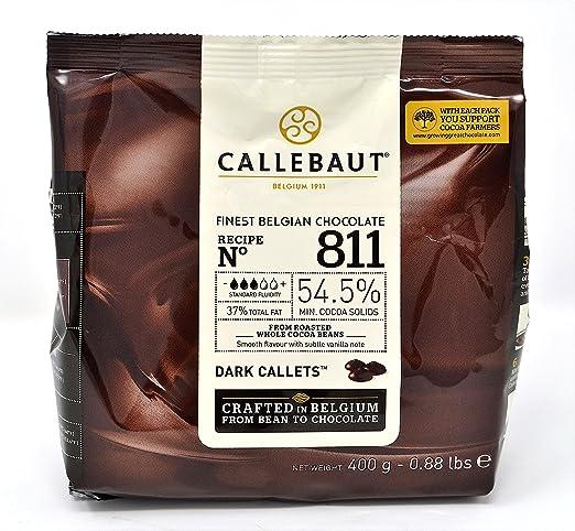 Callebaut N° 811 (54,5%) - Cobertura de Chocolate Negro Belga - Finest Belgian Dark Chocolate (Callets) 400g: Amazon.es: Alimentación y bebidas