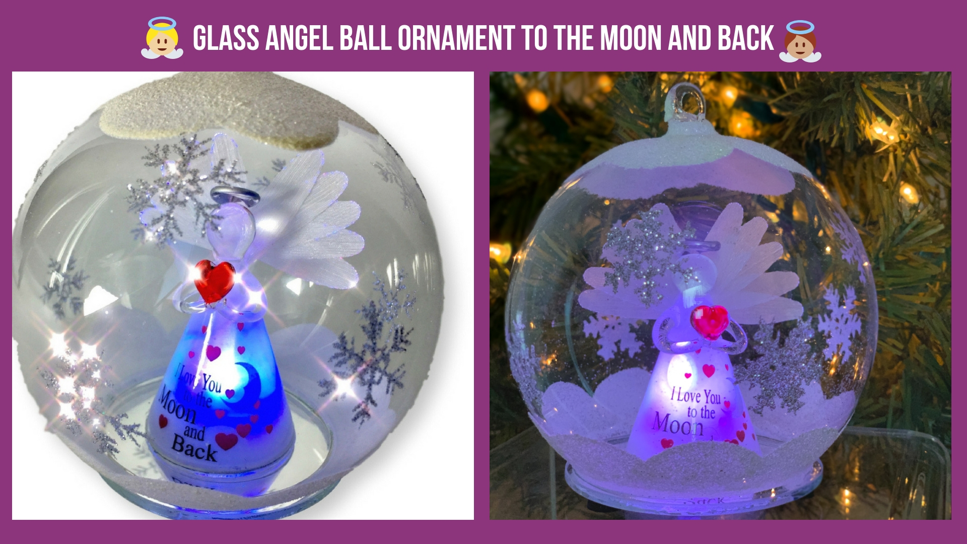 Glass Angel Ball Ornament To The Moon And Back