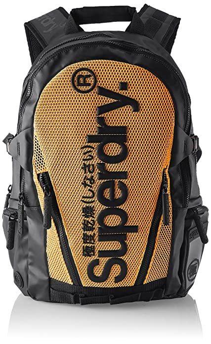 Superdry - Meshtarpbackpack, Mochilas Hombre, Multicolor (Black/Orange), 34x45x14 cm
